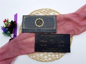 Liva Lüks Davetiye 6102, Siyah, Altın Varak Yaldız Çerçeveli Davetiye