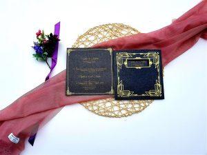 Liva Lüks Davetiye 6105, Siyah, Altın Yaldız Davetiye