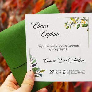 Liva 7264, Kare Yeşil Zarflı, Yeşil Çiçekli Davetiye