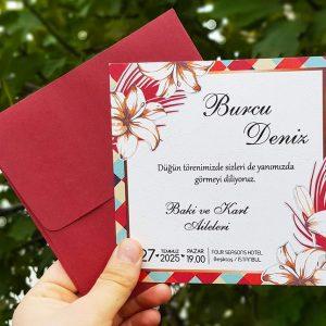 Liva 7267, Kırmızı Zarflı, Kenarları Kırmızı Çiçekli Davetiye