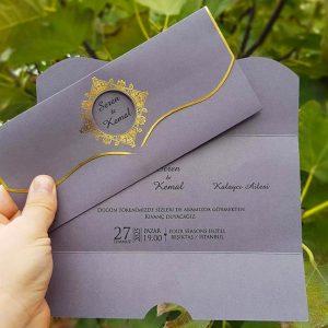 Liva 7272, Gri Renkli, Zarfsız Düğün Davetiyesi