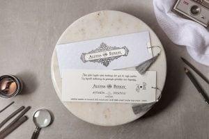 Wedding Davetiye 8176, Gri Zarflı, Püsküllü Davetiye