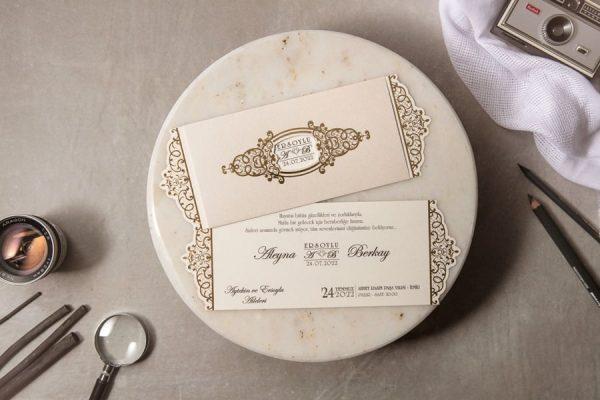 Wedding Davetiye 8221, Krem Renkli Altın Yaldızlı Davetiye