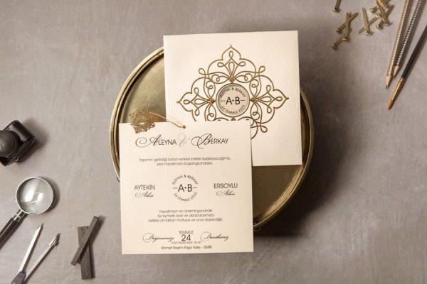 Wedding Davetiye 8326, Krem Renkli, Yaldızlı Kare Davetiye