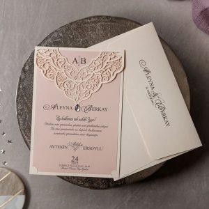 Wedding Davetiye 8377, Krem Renk, Lazer Kesimli Sade Davetiye