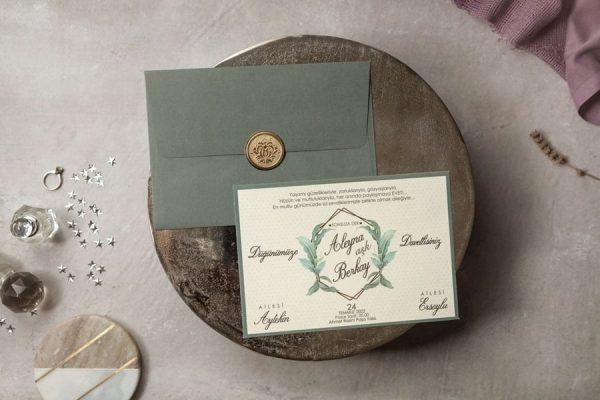 Wedding Davetiye 8381, Yeşil Zarflı, Mühürlü Davetiye