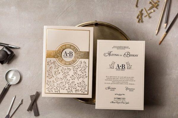 Wedding Davetiye 8390, Altın Yaldız Davetiye