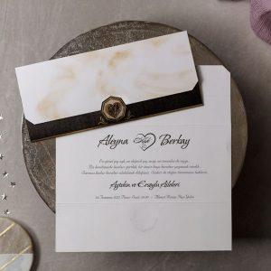 Wedding Davetiye 8451, Mermer Desenli, Siyah ve Krem Renkli Davetiye